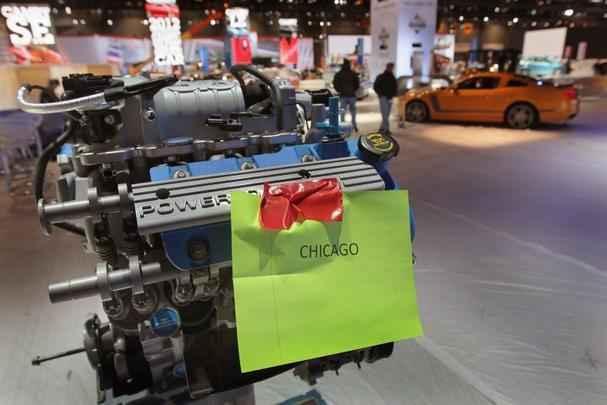 Motor da Ford exposto de forma isolada