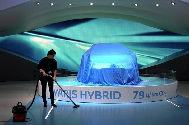 Preparação para mostrar o Yaris Hybrid