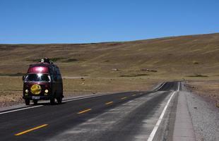 A Kombi no caminho para Cusco, no Peru