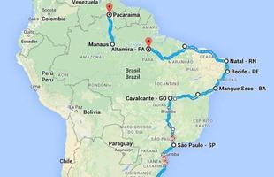 Mapa do trajeto que fizeram no Brasil