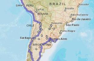 Mapa mostra o planejamento do trajeto que percorrerão pela América latina