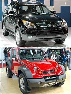 Hyundai Veracruz (preto) e Tac Strak (vermelho) -