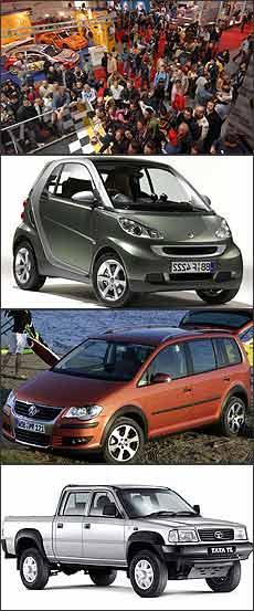 Exposição italiana vem se consolidando junto ao público europeu. De cima para baixo: Smart Fortwo, Volkswagen CrossTouran e Tata TL - Salão de Bolonha/Divulgação - Smart/Divulgação - Volkswagen/Divulgação - Tata/Divulgação