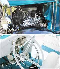 Propulsor V8 <b>(acima)</b> proporcionava desempenho esportivo para o modelo Ford. Painel mantém instrumentos originais e volante com aro cromado -