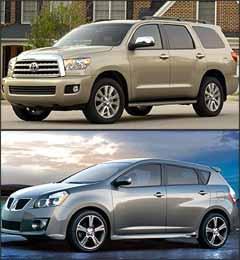 Toyota Sequoia e Pontiac Vibe - Toyota/Divulgação - Pontiac/Divulgação