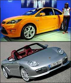 Ford Focus ST e Porsche Boxter RS 60 Spyder - Alessandro Garofalo/Reuters e Porsche/Divulgação