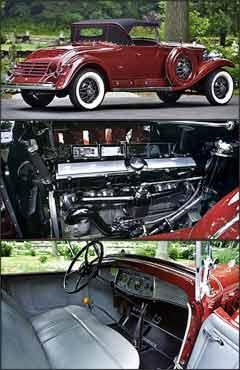 Além das belas formas, modelo tem o segundo assento na traseira, o chamado banco da sogra. Propulsor de 16 cilindros em V era um dos destaques do roadster americano, que tinha bom desempenho. Acabamento sofisticado no interior, com revestimento em couro -