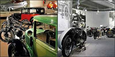 Primeiros carros produzidos pela marca alemã dividem o espaço com diferentes modelos de motos e nas paredes, painéis fotográficos registram cenas de outras épocas -