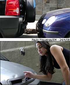 Capô de Fiat Palio de Fernanda Corrêa foi atingido por sobressalente de outro carro -