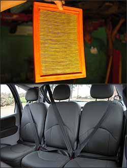 Filtro de ar sujo aumenta o consumo de combustível. Verifique também o estado dos cintos de segurança - Emmanuel Pinheiro/EM/D. A Press - 27/10/05 e Marlos Ney Vidal/EM/D. A Press - 27/10/06