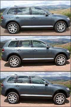 No VW Touareg, suspensão pneumática permite variar, de modo manual ou automático, altura do solo de 160 mm a 300 mm, facilitando a rodagem no asfalto ou no fora-de-estrada - Marlos Ney Vidal/EM/D.A Press - 11/3/08