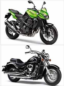 A Z 750 (verde), com estilo naked, tem propulsor de quatro cilindros em linha. A custom Vulcan 900 tem estilo clássico, com pára-lamas envolventes -