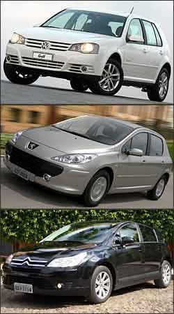 Diversas possibilidades de opcionais, e em separado, garantem ao Golf valor competitivo. No C4, pagamento por pintura metálica é quase compulsório - VW/Divulgação e Peugeot/Divulgação