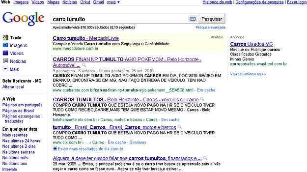 Utilizando o termo 'carro tumulto' em sites de busca, é possível achar algumas ofertas na internet (Reprodução da internet/Google)