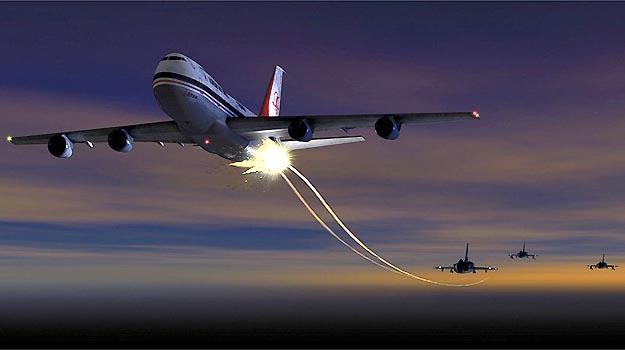 Simula��o mostra como teria sido o ataque de ca�as sovi�ticos ao avi�o de passageiros da Korean Air - Reprodu��o da internet/stratacafe.com