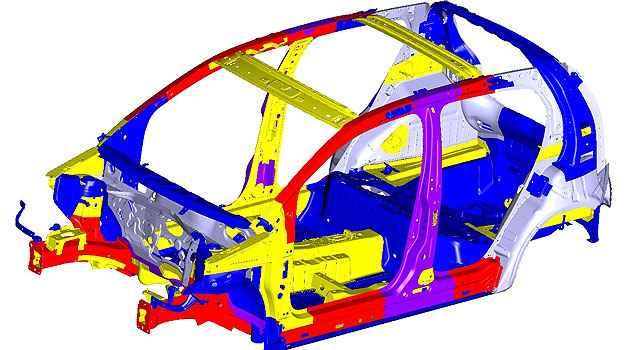 Uso de aço de ultra, alta e grande resistência (peças coloridas) criam uma célula de sobrevivência  - Divulgação