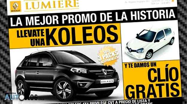 Para amenizar efeitos da alta dos impostos, Renault oferece um Clio de 'brinde' na compra do SUV Koleos - Reprodu��o da internet/Autoblog Argentina