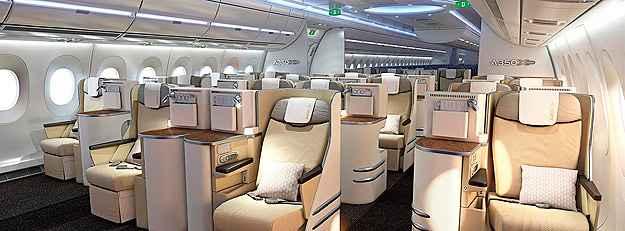 Airbus A350-900 possui maior largura na cabine (Airbus/Divulga��o)