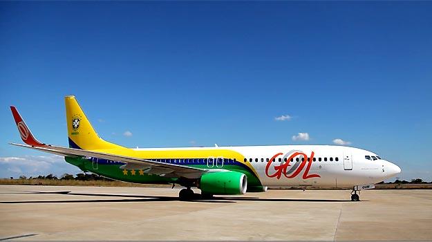 Boeing 737-800 da Gol que foi usado pela Sele��o na Copa das Confedera��es  - Gol/Divulga��o