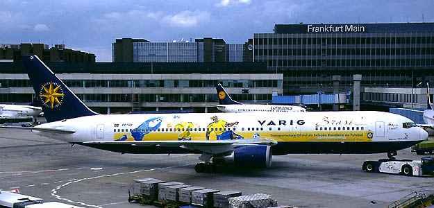 Boeing 767-300 com esquema especial de pintura transportou a equipe Brasileira para a Cor�ia do Sul e Jap�o na Copa de 2002  ((Konstantin von Wedelstaedt/Airliners.net/Reprodu��o))