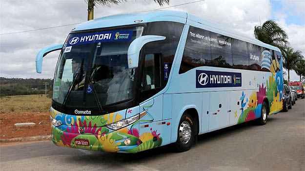 Ônibus da delegação do Uruguai - Rodrigo Clemente/EM/D.A PRESS