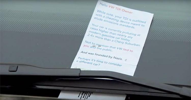 Panfleto faz refer�ncia ao nazismo para criticar a Volkswagen nos EUA