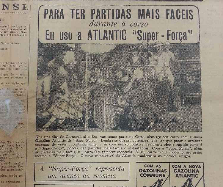 An�ncio do jornal Estado de Minas em 1935 explorava o corso -