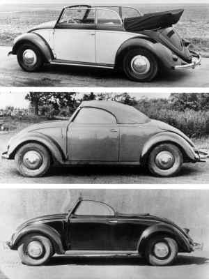 Acima um conversível 1949; seguido por uma unidade de 1946 construída especialmente para um militar britânico; por fim, modelo conversível fabricado pela Hebmüller - Volkswagen/Divulgação
