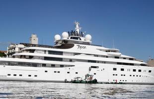 Iate Topaz é o quinto maior barco particular do mundo e pertence a um xeique árabe, que o emprestou para Leonardo DiCaprio de hospedar no Brasil durante a Copa do Mundo