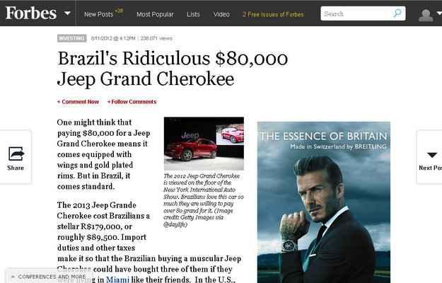 Para revista Forbes, preços de carros no Brasil são