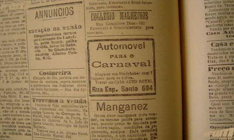 Anúncio no jornal Minas Gerais de fevereiro de 1925 oferece aluguel de carro para o carnaval - Jornal Minas Gerais, 19/02/1925, p. 1.