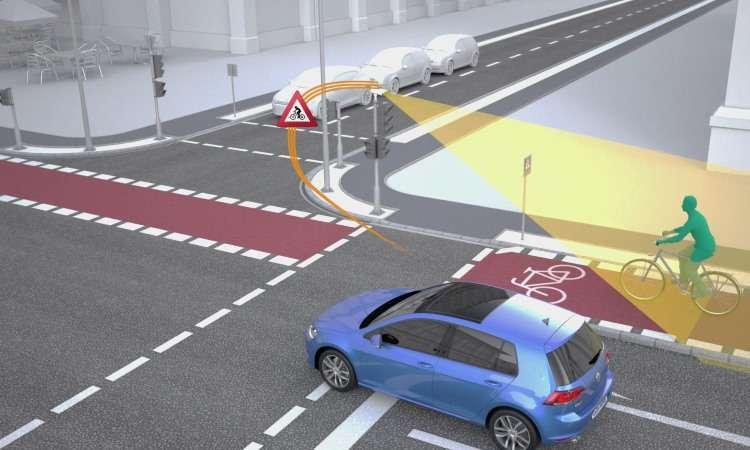 Sensores captam a presença de pedestres ou ciclistas e informam aos veículos - Volkswagen/Divulgação