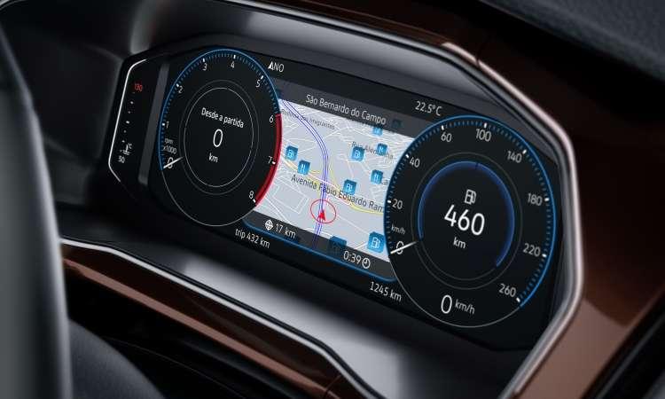 O painel digital Active Info Display pode ter diferentes configurações, inclusive com o mapa para navegação - Volkswagen/Divulgação