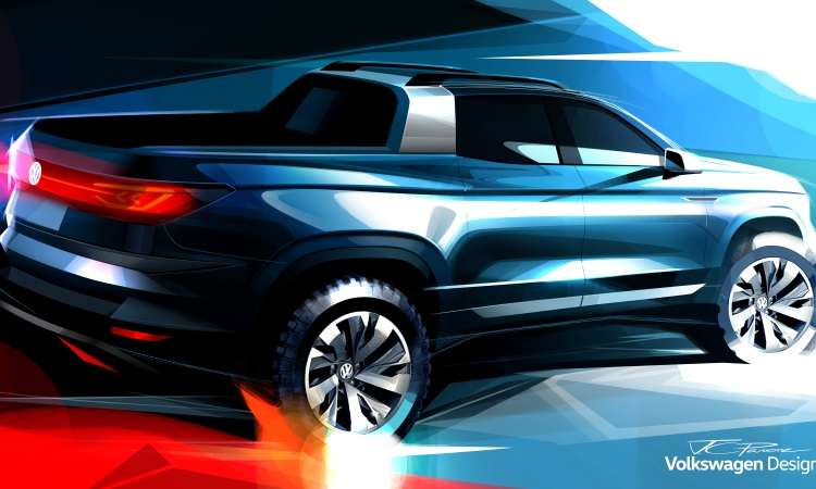 O esboço divulgado pela VW mostra como serão as linhas da picape intermediária que será apresentada como conceito - Volkswagen/Divulgação